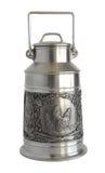 Silver Milk kan med basrelief Arkivfoton