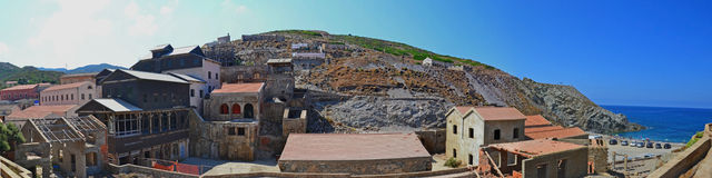 Silver mine remains and beach - Argentiera, Sardinia, Italy Royalty Free Stock Image