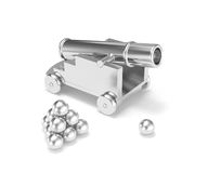 Silver miniature cannon cannonball. Isolated silver titanium mini cannon ball pyramid. Treasure hunting, trade war, economic competition, adult toy Royalty Free Stock Photography