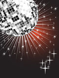 Silver mirror ball. Illustration of a mirrow ball on an abstract stars background Royalty Free Stock Photography