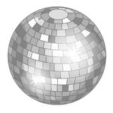 Silver mirror ball or discoball for party. Vector Royalty Free Stock Image