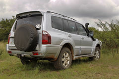 Silver Mitsubishi Pajero DHD Rear View Royalty Free Stock Photography