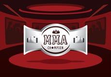 Silver MMA champion badge design vector illustration. Silver MMA champion badge design on red light ring vector illustration Royalty Free Stock Images