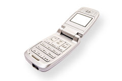 Silver mobile phone on white Stock Image