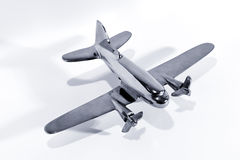 Silver model toy airplane Stock Images