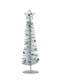 Silver modern Christmas tree isolated on white background Stock Photo