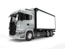 Silver modern heavy transport truck Royalty Free Stock Image