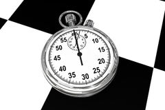 Silver modern Stopwatch. On a chess board background stock illustration