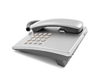 Silver modern telephone Stock Photography