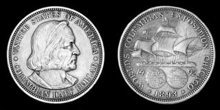 Silver money half dollars Royalty Free Stock Photos