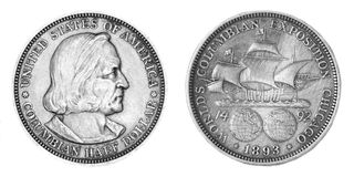 Silver money half dollars Stock Photo