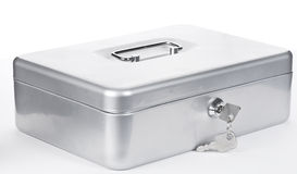 Silver money safe with keys Stock Photography