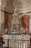 Silver Monstrance in the Cadiz Cathedral. CADIZ, SPAIN - AUGUST 27, 2014: Custodia del Millon, a 17th Century four meter tall silver monstrance set with a Stock Photography