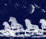 Silver Moon Ocean Spirit Horses vector illustration