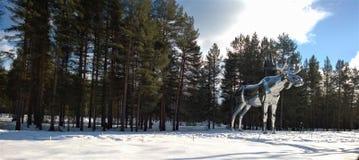 Silver Moose Statue Near Tree Royalty Free Stock Photo