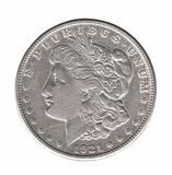 Silver Morgan dollar isolated on white royalty free stock image