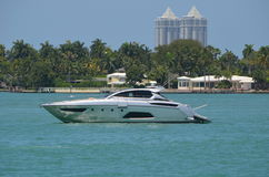 Silver Motor Yacht Stock Photo