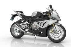 Silver Motorcycle. On white background Stock Image