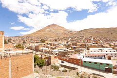 The Silver Mountain of Potosi, Bolivia. Perspective from Potosi, Bolivia, one of the hightest cities in the world, with the Cerro Rico mountain on the background Stock Photo