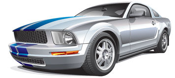 Silver muscle car stock illustration