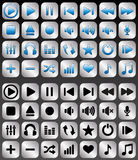 Silver music buttons set Royalty Free Stock Image