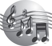 Silver Music Notes. With art deco look Royalty Free Stock Photos