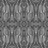 Silver Mysterious Ethnic Pattern. Seamless geometric tribal pattern with many details. Abstract striped and dotted ethnic ornament in white, black and shadows of Royalty Free Stock Photography