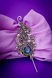 Silver mystic topaz feather pendant brooch. Wire wrap Royalty Free Stock Photography