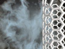 Silver nanotube on black cloudy background Stock Photo