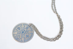 Silver Necklace. A silver necklace with native american designs Stock Images