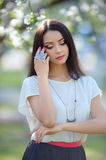 Silver necklace with bird finger ring on the beautiful woman mod Stock Images