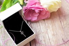 Silver necklace in gift box on wooden background royalty free stock photo