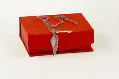Silver necklace and jewelry box Stock Images