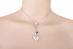 Silver necklace with two heart pendants Stock Photos