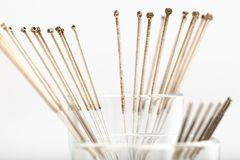 Silver needles for traditional Chinese acupuncture medicine. Silver needles for traditional Chinese medicine acupuncture. Close-up Royalty Free Stock Image