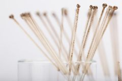 Silver needles for traditional Chinese acupuncture medicine. Silver needles for traditional Chinese medicine acupuncture. Close-up Royalty Free Stock Photos