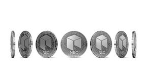 Silver NEO shown from seven angles isolated. On white background. Easy to cut out and use particular coin angle. 3D rendering stock illustration