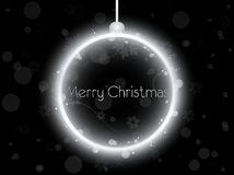 Silver Neon Christmas Ball on Black Stock Photography