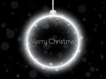 Silver Neon Christmas Ball On Black Stock Photography