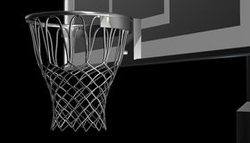 Silver net of a basketball hoop on various material and background, 3d render. Sports background, basketball hoop net Stock Photos