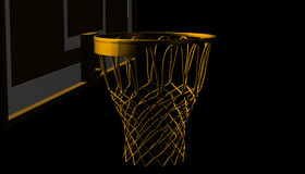 Silver net of a basketball hoop on various material and background, 3d render. Sports background, basketball hoop net Stock Photo