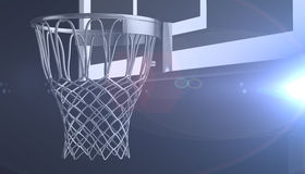 Silver net of a basketball hoop on various material and background, 3d render. Sports background, basketball hoop net Stock Image