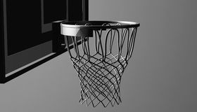 Silver net of a basketball hoop on various material and background, 3d render. Sports background, basketball hoop net Royalty Free Stock Images