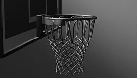 Silver net of a basketball hoop on various material and background, 3d render. Sports background, basketball hoop net Royalty Free Stock Photo