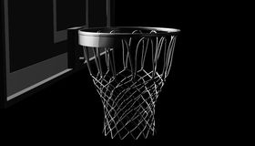 Silver net of a basketball hoop on various material and background, 3d render. Sports background, basketball hoop net Royalty Free Stock Photos