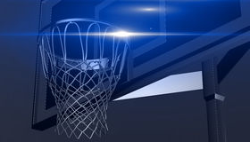 Silver net of a basketball hoop on various material and background, 3d render. Sports background, basketball hoop net Royalty Free Stock Image