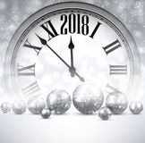 2018 New Year background with clock. Royalty Free Stock Photo