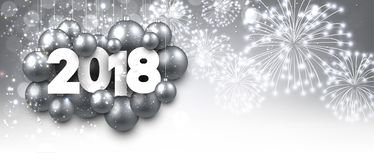 Gray 2018 New Year banner. Silver 2018 New Year banner with Christmas balls. Vector illustration Royalty Free Stock Images