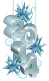 Silver New Year or Christmas 2014 Decorations Stock Photos