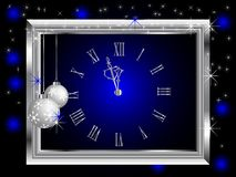 Silver New Year clock Stock Photos